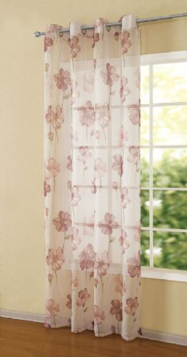 PINK COLOUR  READYMADE EYELET LIGHT NET VOILE CURTAIN PANEL STYLISH FLORAL DESIGN